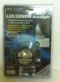 LED / XENON Headlight with head strap ( NEW , SEALED ) IDEAL GIFT