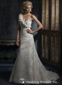 Maggie Sottero Strapless All Lace Wedding Dress and Veil