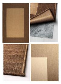 IKEA DRAGOR Beige light brown reversable Rugs, flatwoven 140x200 cm E2 BETHNAL GREEN