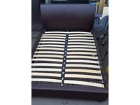 Double leather bed, Bed, double bed,