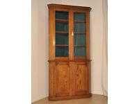 "Attractive Very Large 86"" Antique Victorian Oak Corner Bookcase Display Cabinet"