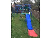 Climbing frame with slide & 3 in 1 swings