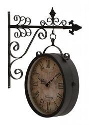 Benzara Artistic & Antique Themed Double Side Clock 35437 Clock 13 x 3 x 16