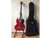 Epiphone Bass (EB-3, Cherry Red) and Rok Sak Gig Bag w/ Fender Strap