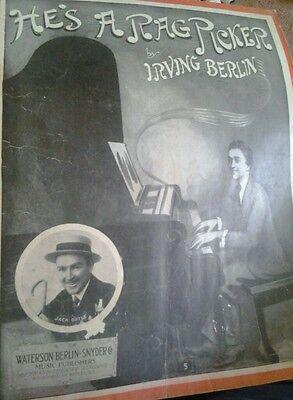 SHEET MUSIC HE'S A RAG PICKER BY IRVING BERLIN COPYRIGHT 1914