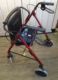 LIGHTWEIGHT ALUMINIUM ROLLATOR MOBILITY WALKING AID WITH SEAT & SHOPPING BAG