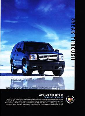 "2003 Cadillac Escalade SUV photo ""Let's Take This Outside"" promo print ad"