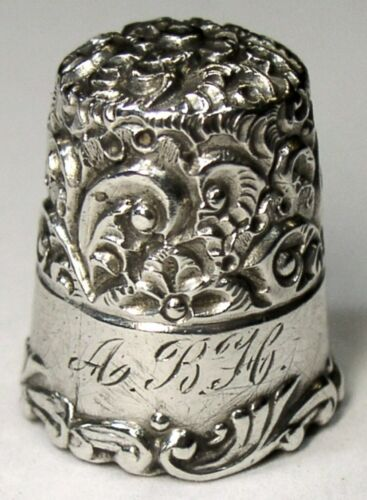 "Antique Ketcham & McDougall Sterling Silver Thimble  ""Embroidery""  ""ABH""  C1890s"