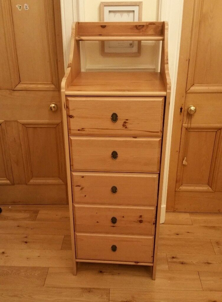 Ikea Tall Boy Leksvik Pine Chest Of 5 Drawers In