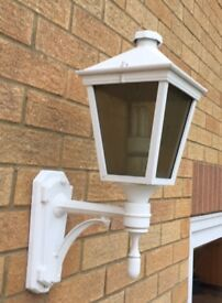 PAIR of large white metal carriage wall lights .