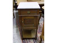 FRENCH OAK SINGLE MARBLE TOPPED BEDSIDE CABINET - (001382)