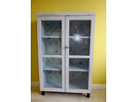 SHABBY CHIC PASTEL BLUE CABINET, CUTE OWL BACK, DOORS & 2 SHELVES. Delivery opt