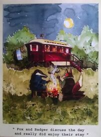 fox and badger glamping poster rustic rural unique watercolour print