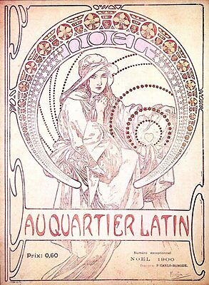 Au Quartier Latin Poster Alphonse Alfons Mucha Reproduction Poster Print NEW
