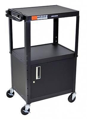 Luxor Mobile Steel Adjustable Height AV Cart with Storage Cabinet, Black AVJ42C