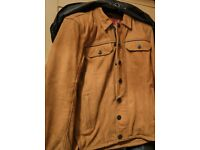 Triumph Shirket Scrambler Tan Leather Riding Motorcycle Jacket - LARGE Size