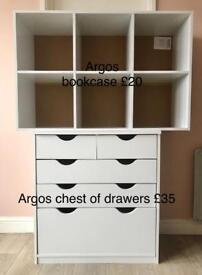 Chest of drawers and bookcase from Argos