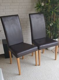 2 x Dark Brown Dining Chairs