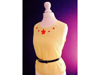 Ladies Yellow Sleeveless Beaded Semi Sheer Top from Cameo Rose.Size 12.