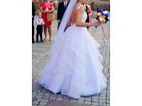 WEDDING DRESS lace backless princess frill size S/M