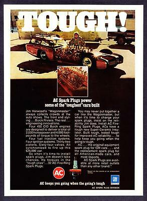 1973 Jim Harwood Wagonmaster Custom Car photo AC Spark Plugs promo print ad