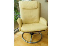 Ikea Cream Leather swivel recliner chair £80 each, pair available