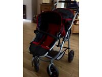 Dolls double buggy, red and black. Great condition