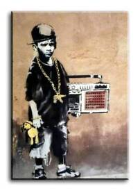 Banksy Ghetto Boy 20×30 inches, framed ready to hang, brand new wall art canvas