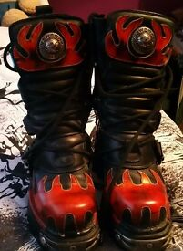 New Rock 591 Red Flame Boots Size 6