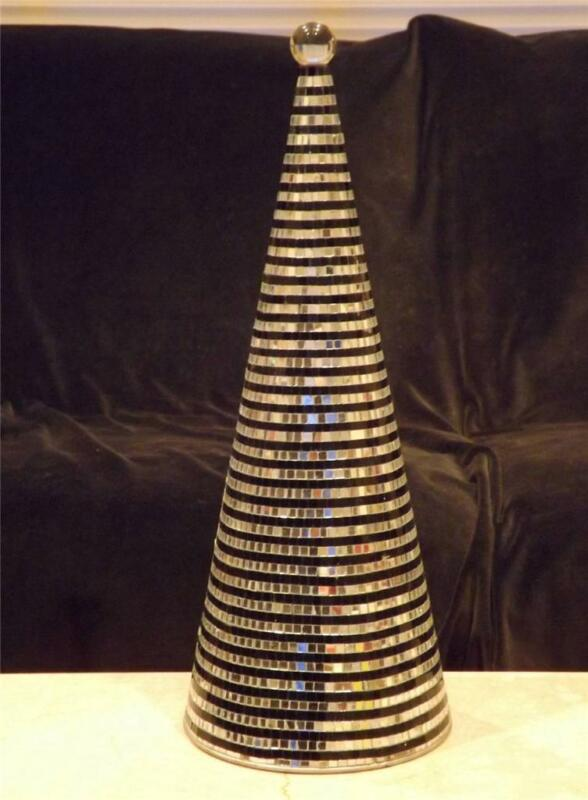 """16"""" Glass Christmas Tree Black Silver MINT PICTURES WITHIN DESCRIPTION"""