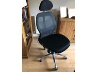 Home office chair - adjustable seat height, lumbar support and head rest