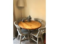 Shabby chic circular table with 4 chairs