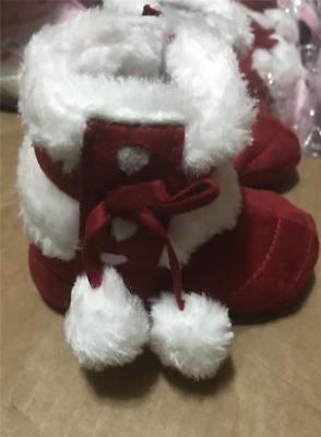 Burgundy Winter Boots Pom Pom Crib Baby Infant Girl New  0/6 M