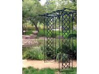 Garden Arch with Lattice in black. Galvanized steel.