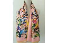 Silk scarf Paradis des oiseaux rose yellow green black red gray