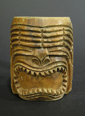 Vintage Polynesian Wood Carved Tiki Mug, Ku God Warrior, Well Used, 6 1/4""