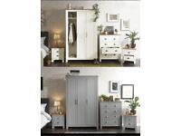 Grey & oak bedroom furniture set