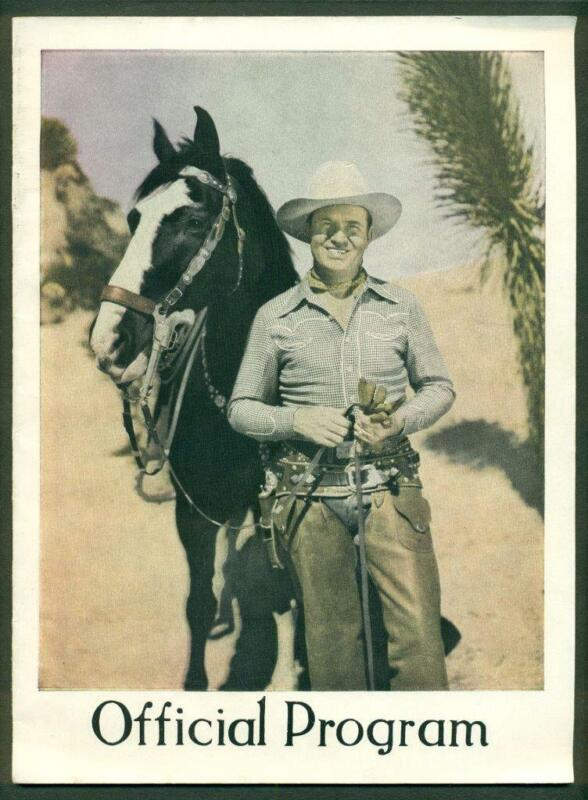 ca. 1940 s COUNTRY MUSICIAN GENE AUTRY FLYING A RANCH RODEO PROGRAM ILLUSTRATED