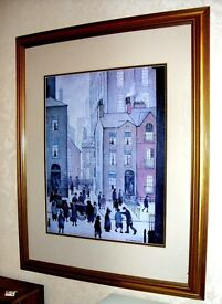 """l.s. lowry 1929 picture print 32"""" high x 25"""" wide gold frame named the hawkers cart"""