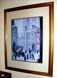 """.s. lowry 1929 picture print 32"""" high x 25"""" wide gold frame the hawkers cart"""