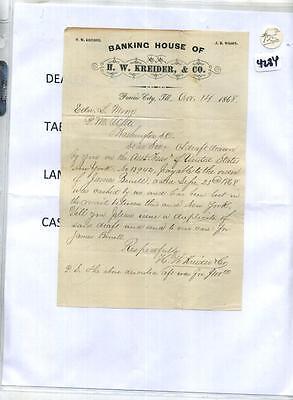 Prairie City Illinois 1868 Bank Document