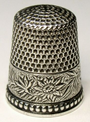 "Antique Ketcham & McDougall Sterling Silver Thimble  ""Damask Flowered""  C1890s"