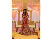 3 piece red and maroon asian wedding dress