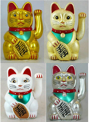 "Swinging Arm Fortune Cat Maneki Neko - Battery Powered Lucky Cat. Size: 5"" or 6"""