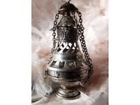 Vintage Old Miniature Silver Metal Hanging Asian Incense Burner