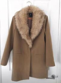 Ladies Primark Camel Coat W/ Fur Collar - Size 8 - NWOT