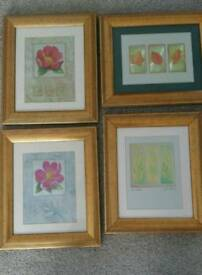 4 picture with antique gold effect frames
