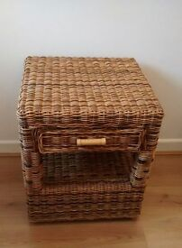 nice rattan side table with under storage and drawer