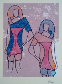 Original NTran Art Fashion 1 Crayon and Pen on Screen Printed Background Paper