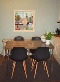 Large Industrial Kitchen Table and x 4 chairs Mid Century Style hairpin 140cmx70